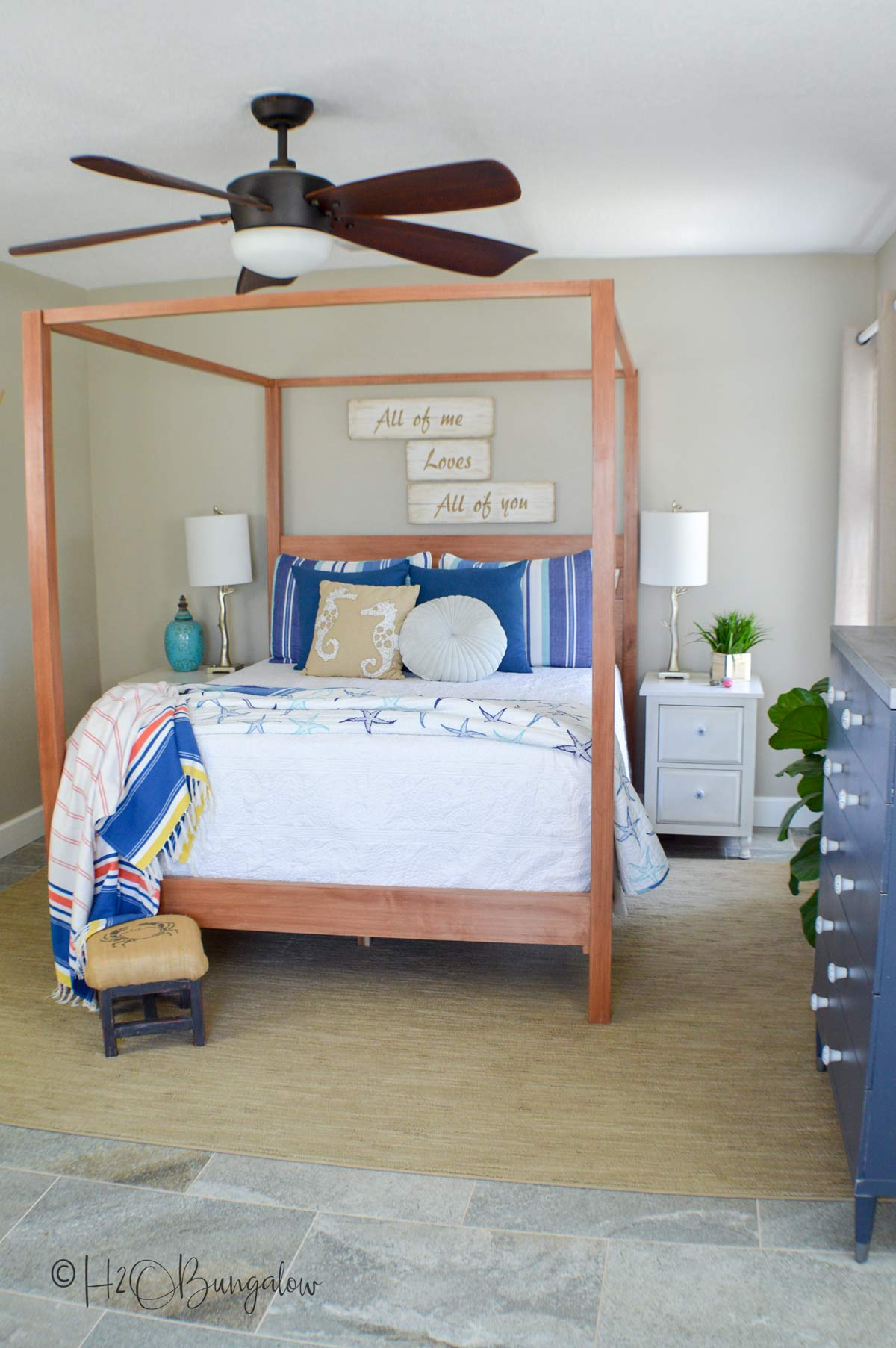 Beautiful DIY queen bed plans to build this bed. Download free plans and tutorial