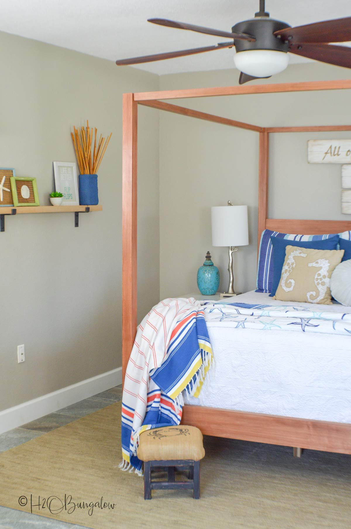 Finished bed from my DIY queen bed frame plans