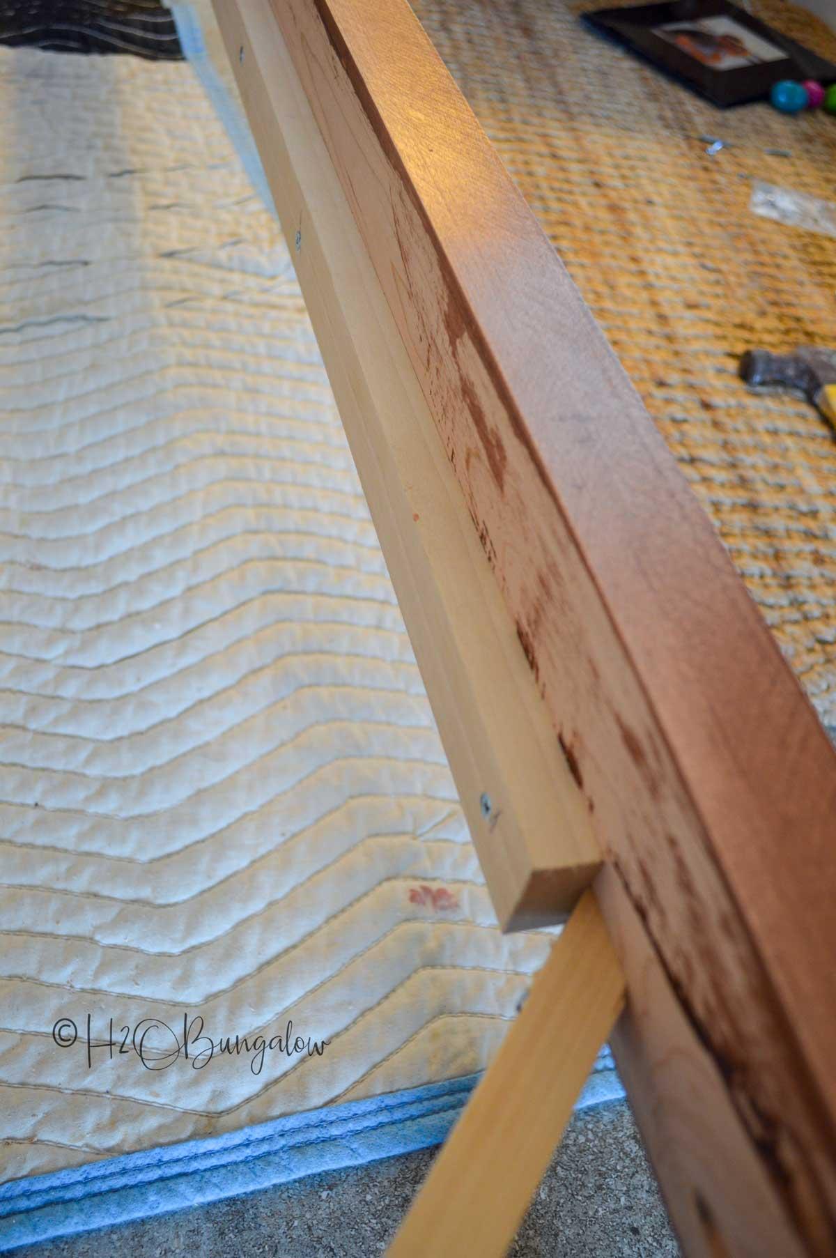 Side rails on modern DIY queen bed frame