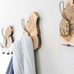 Wood slice live edge coat rack video and tutorial to make your own DIY modern coat hooks