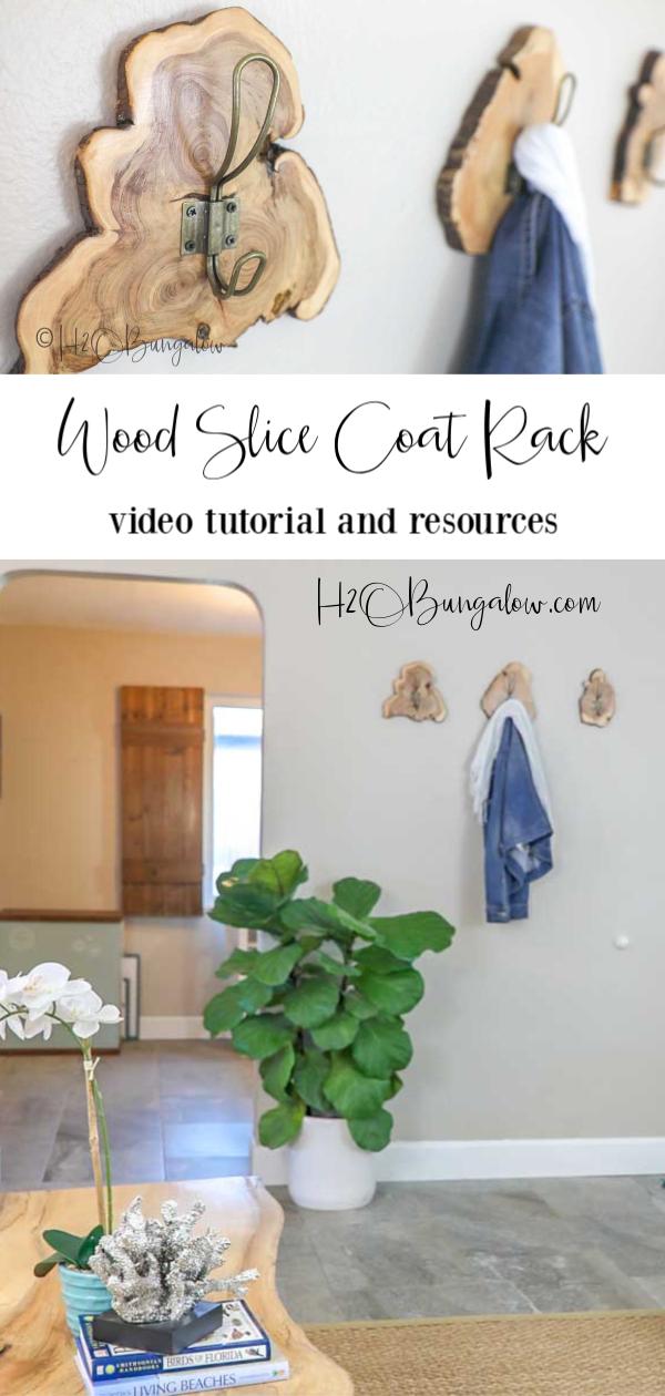 DIY wood slice live edge coat rack video tutorial and resources