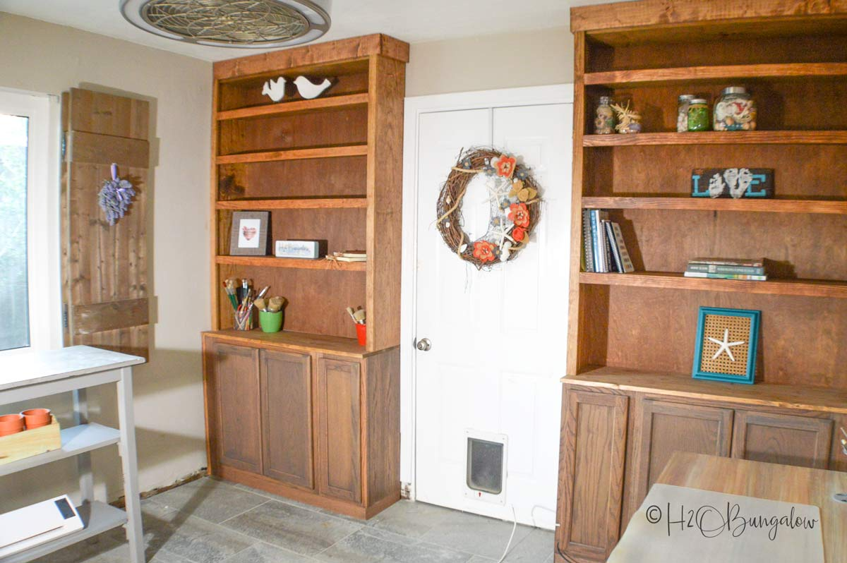 DIY built in shelves and wall cabinets