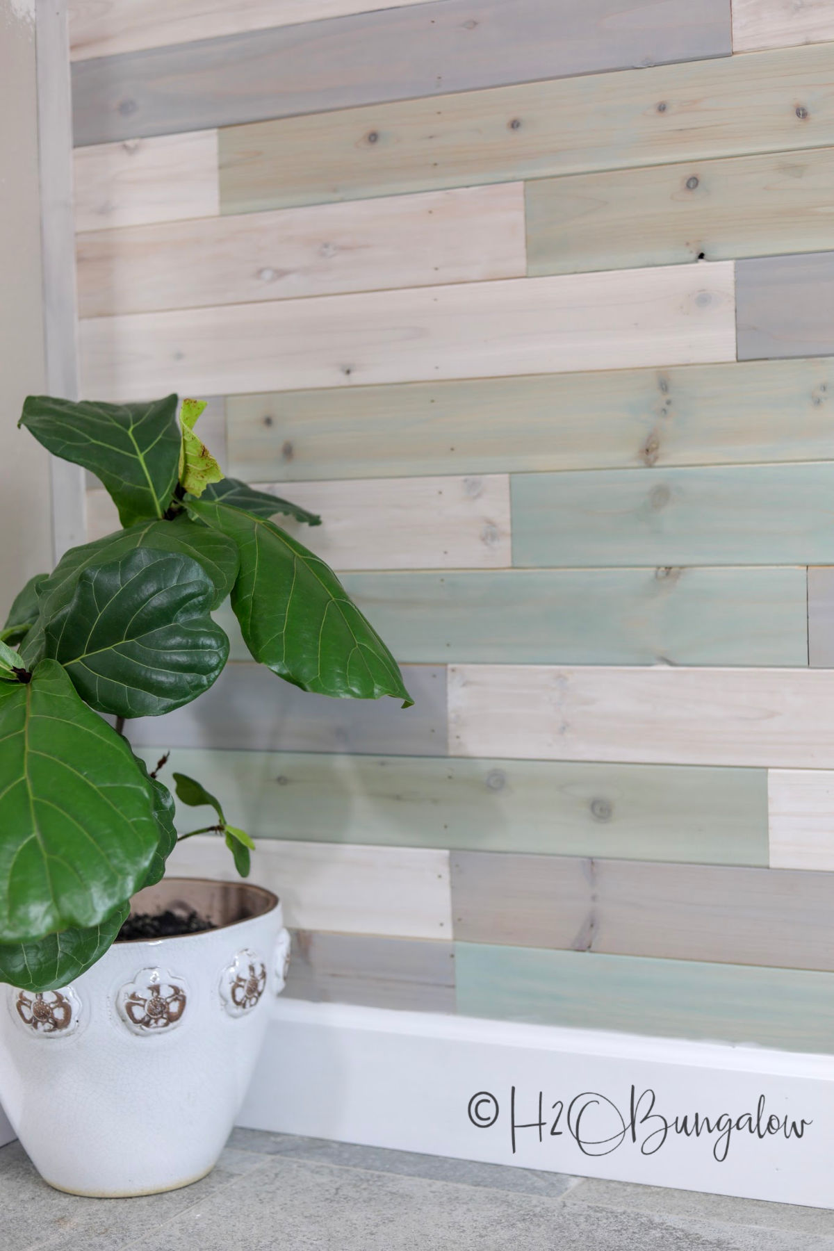 cedar tongue and groove DIY multi colored wood plank wall in a coastal home