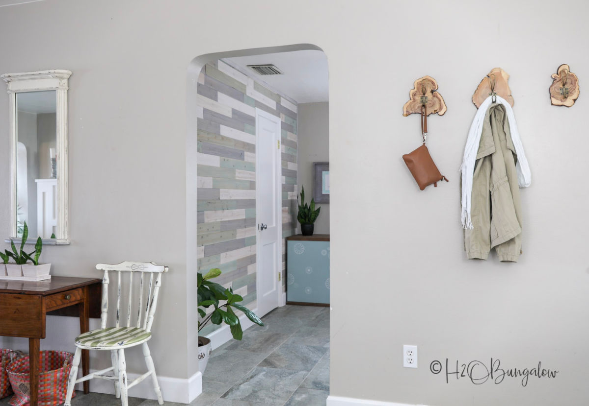 DIY multi colored wood plank wall tutorial and video