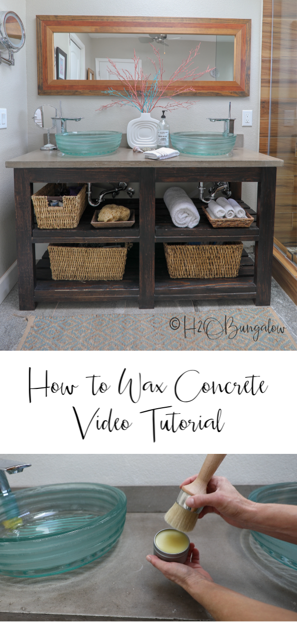 Simple tutorial to wax concrete countertops and why I choose to use wax instead of chemical sealers on my 4 year old concrete vanity countertop. #DIYconcrete #concretecountertop