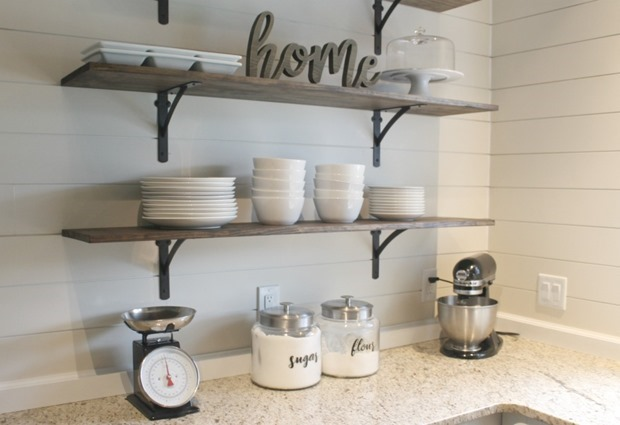 budget friendly open kitchen shelves