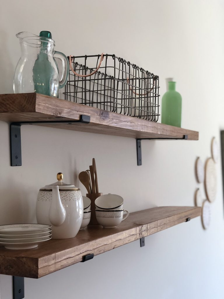 Reclaimed wood rustic open kitchen shelves