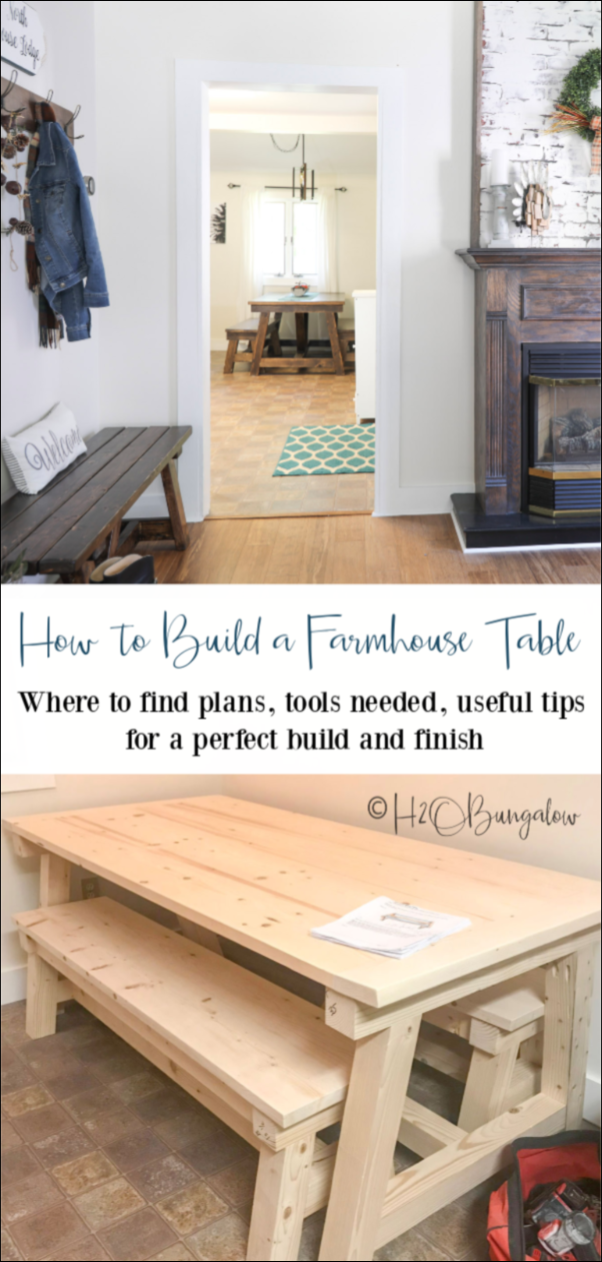How to build a DIY farmhouse table, where to find farmhouse table plans, with tips for building and finishing a perfect rustic farmhouse dining table you can be proud of.