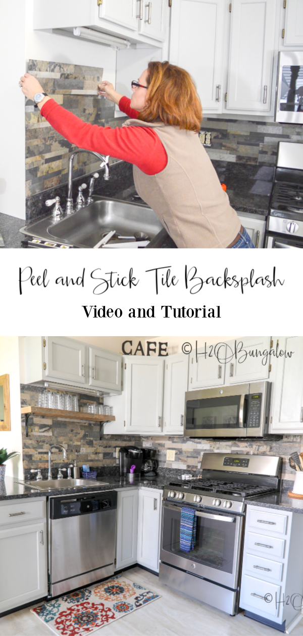 how to install a peel and stick tile backsplash in a kitchen. Tutorial and I answer the big question a year and a half after, does it last?