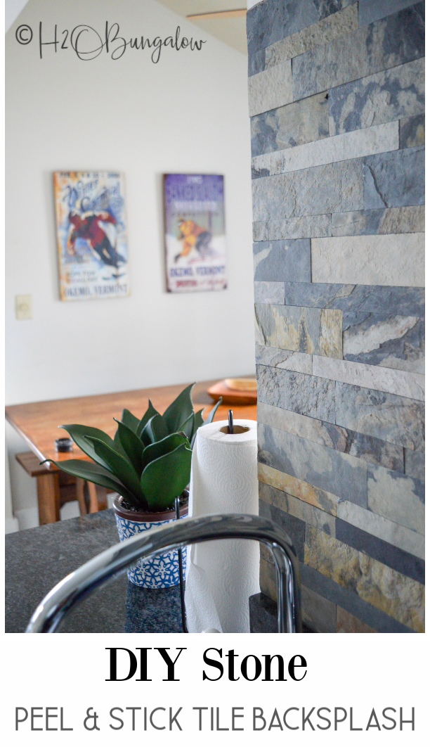 DIY stone peel and stick tile backsplash