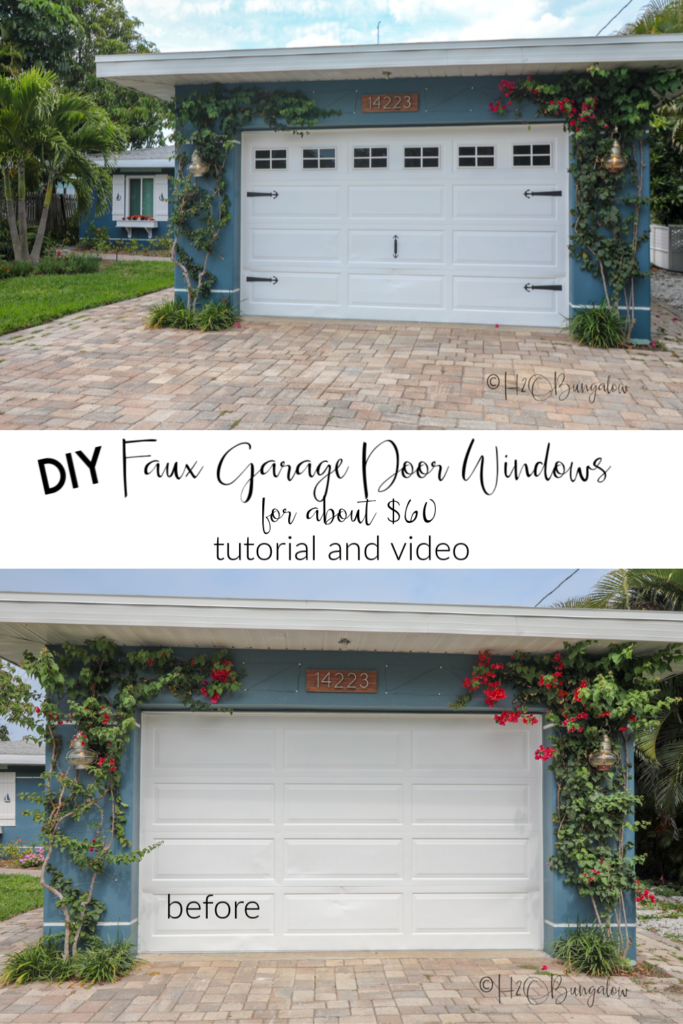 how to add DIY faux garage door windows to your own plain garage door. Tutorial and video with links to supplies #curbappeal #garagedoor #outdoordecor