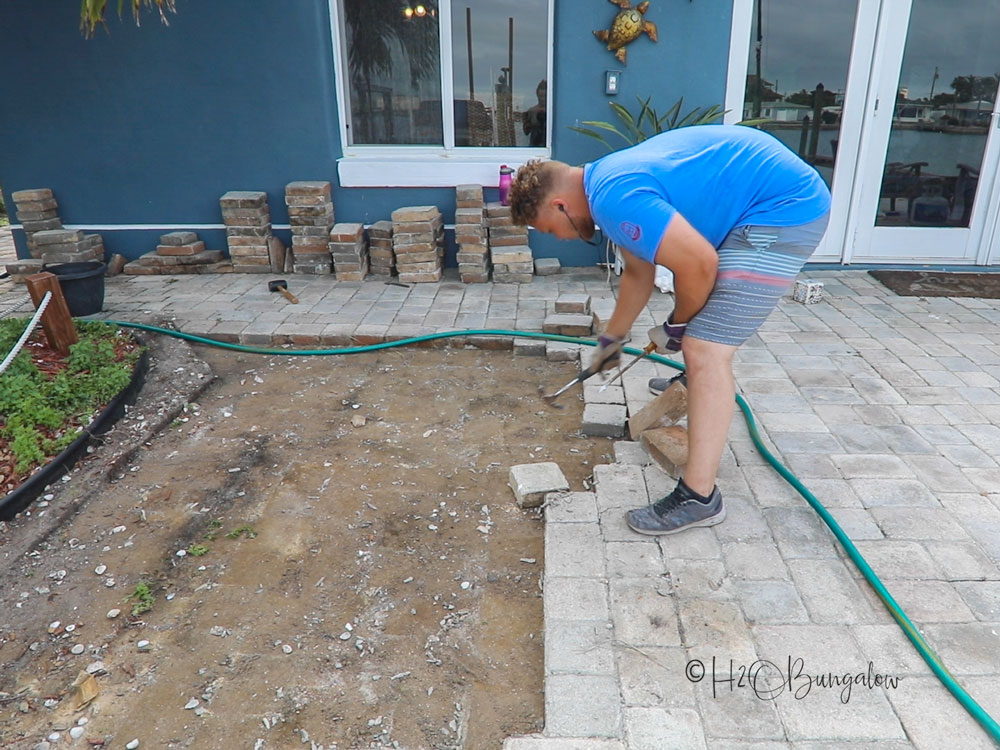 pulling pavers up for new landscape bed
