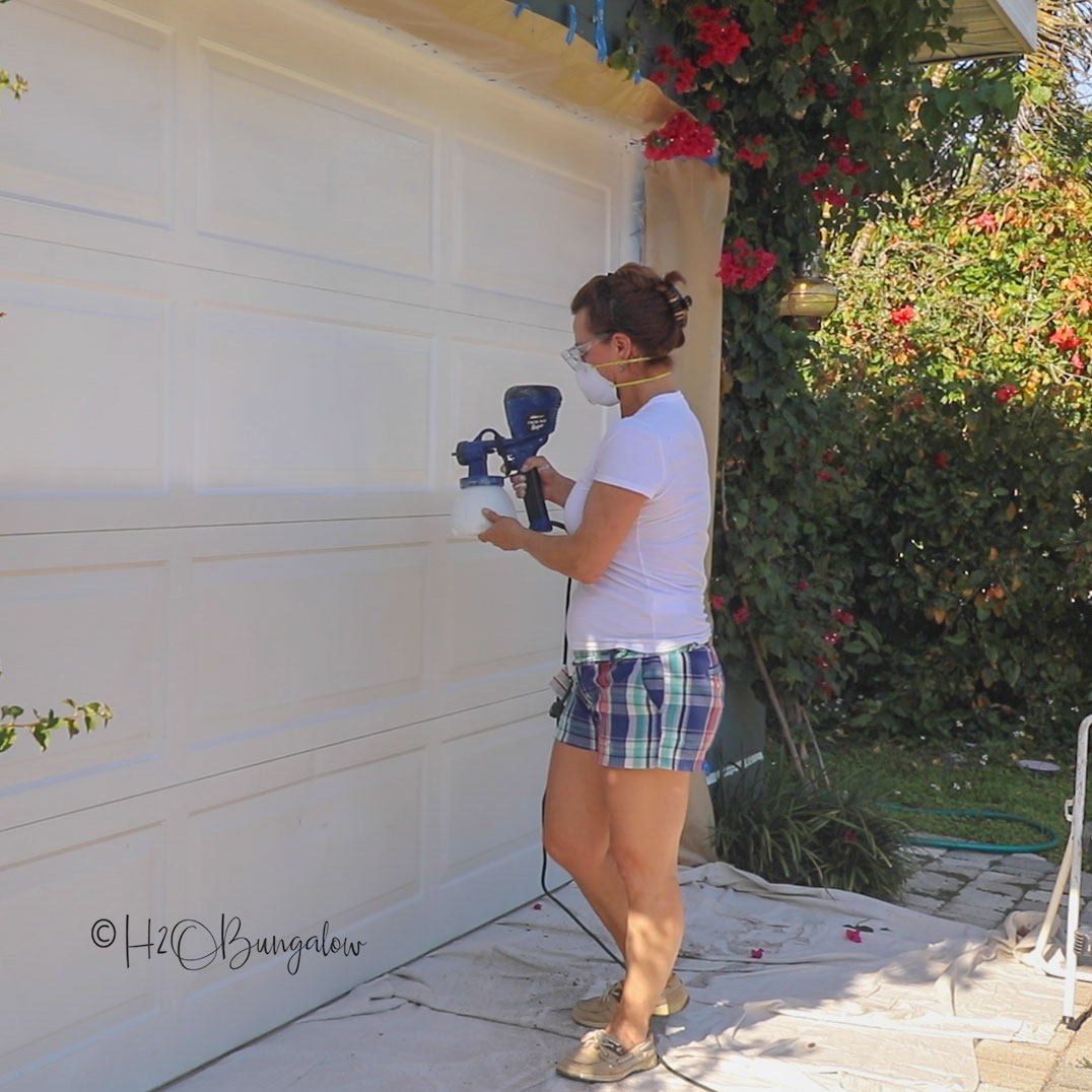 paint garage door before adding DIY faux garage door windows