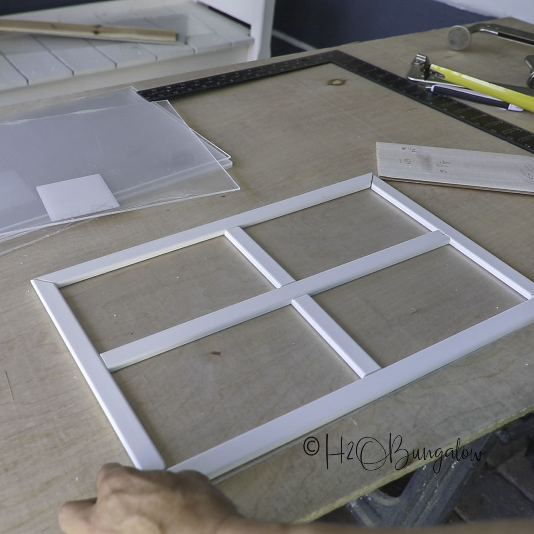make faux garage door window frames