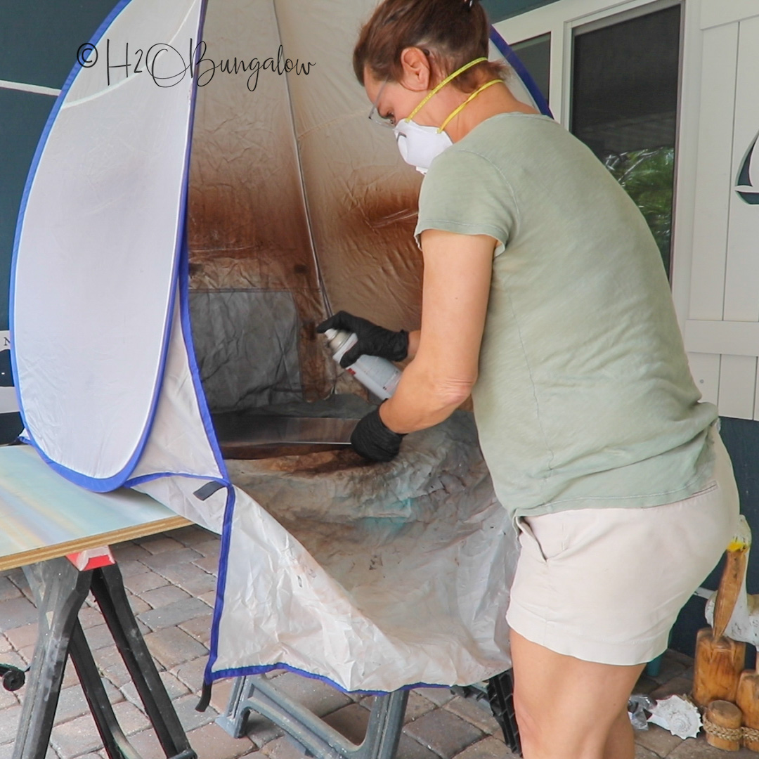 painting the faux garage door window panels