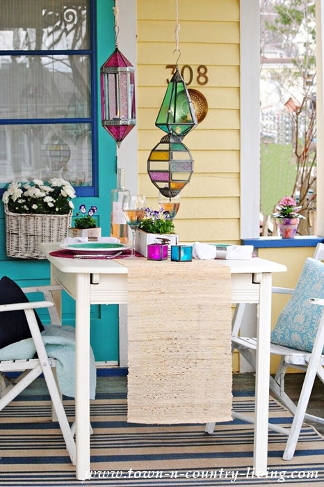 colorful porch dining area
