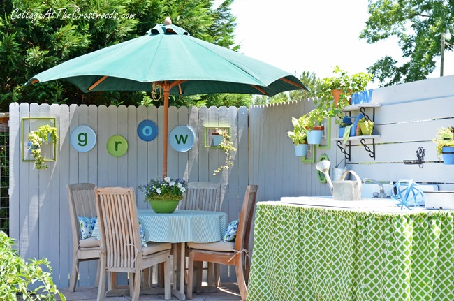 colorful outdoor dining area
