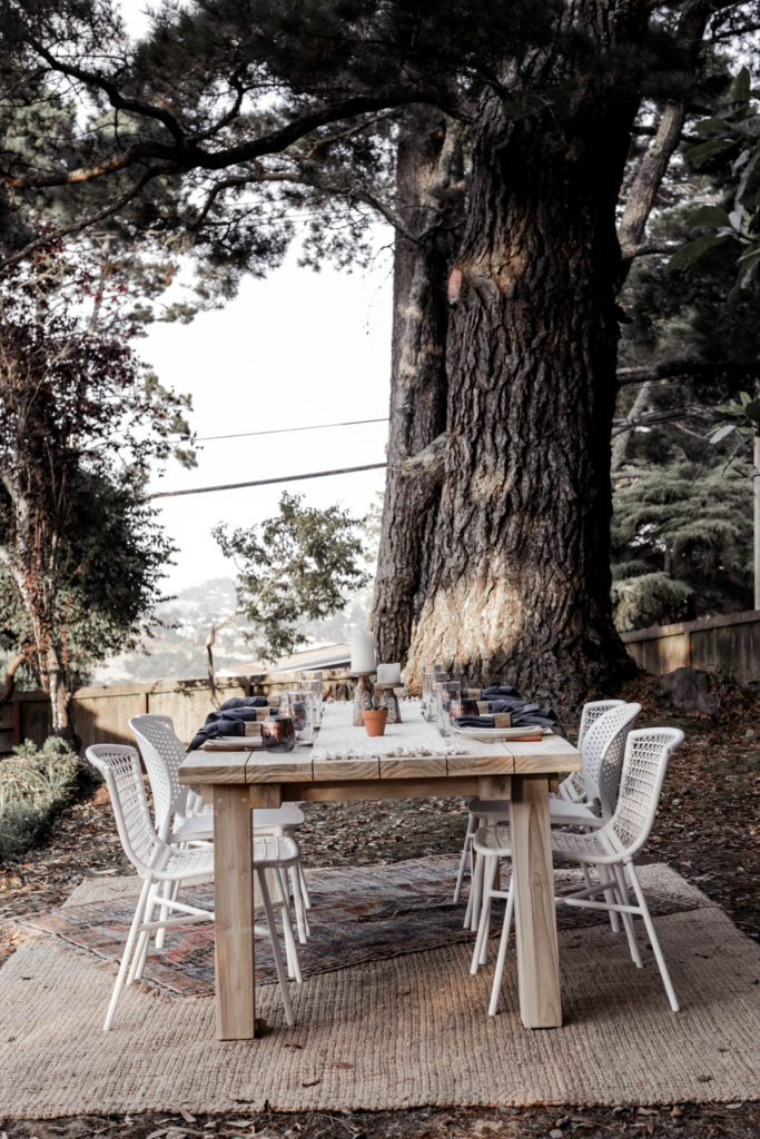 outdoor dining table under a tree