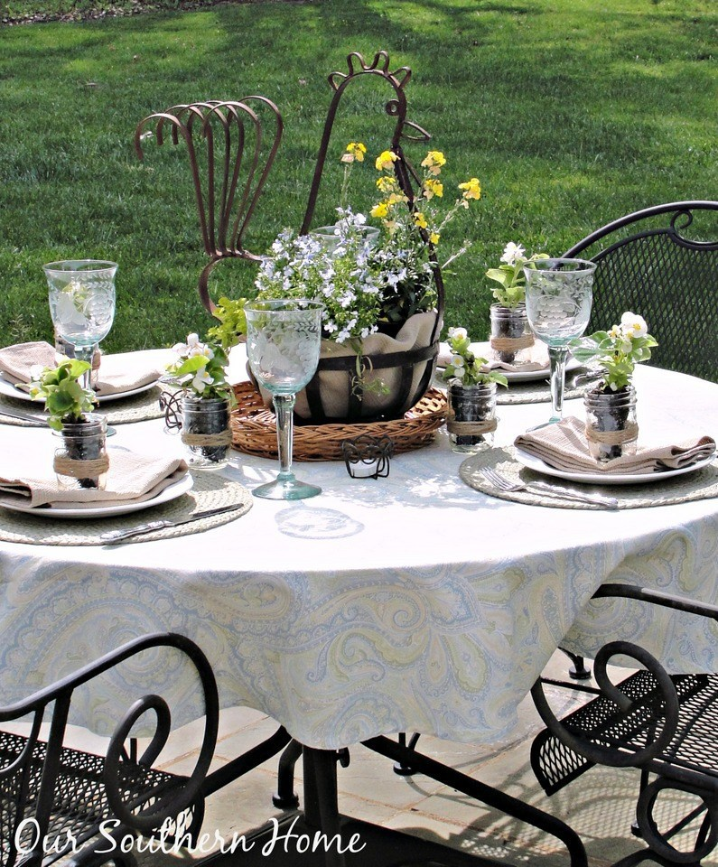 outdoor dining table on grass