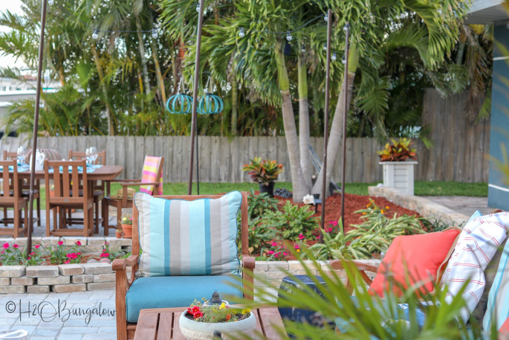 backyard makeover after teak sofa maeover