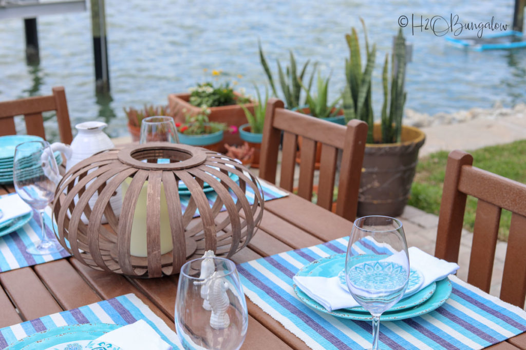 backyard makeover tablescape