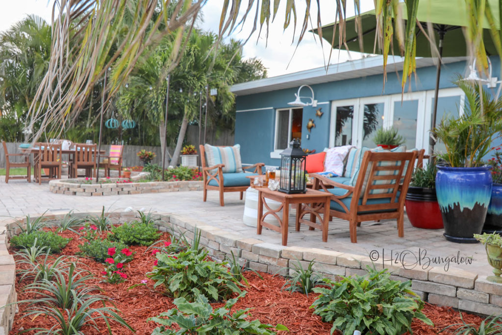 backyard makeover after staging sofa area