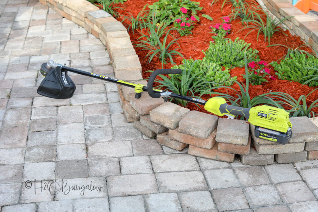 backyard makeover tools string trimmer