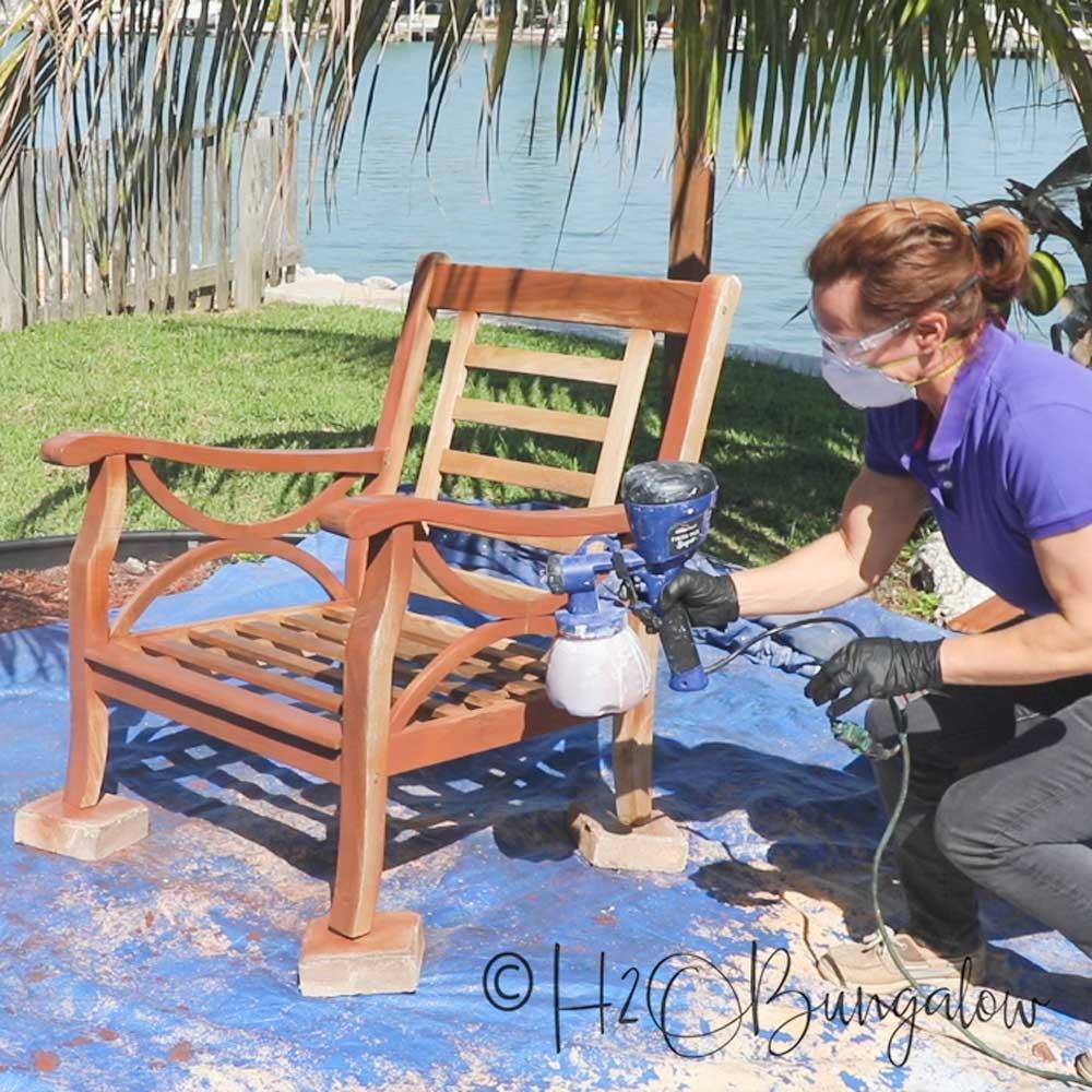 using paint sprayer on teak wood furniture