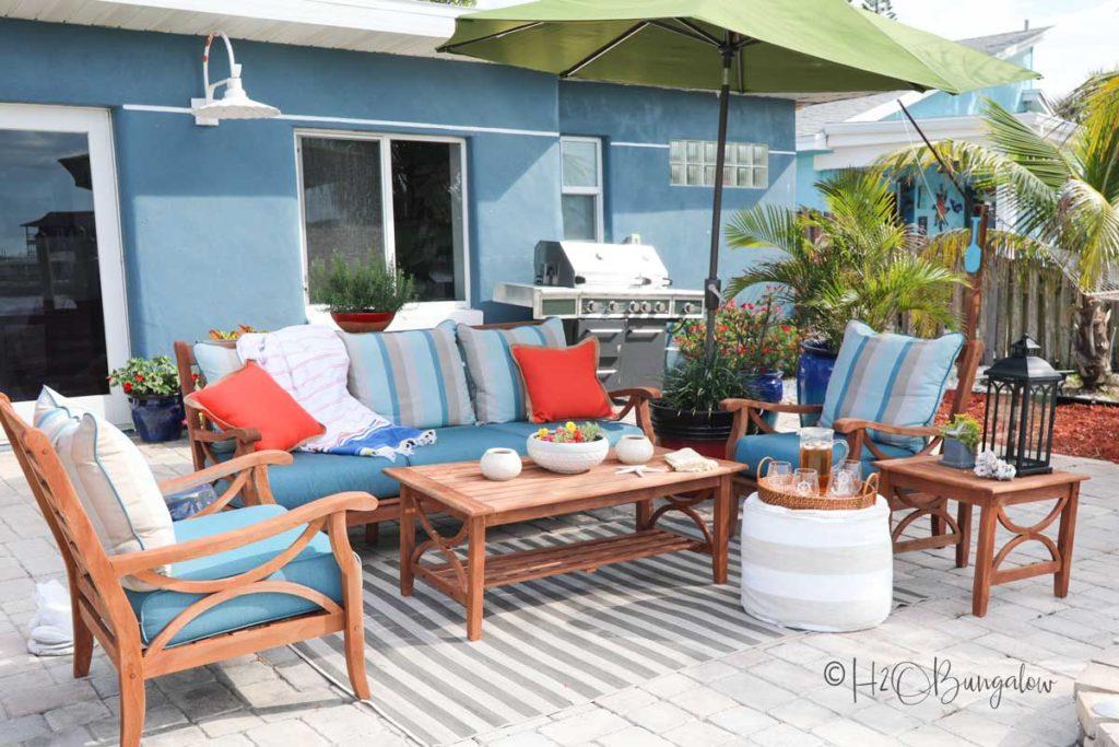 refinished teak outdoor wood furniture set