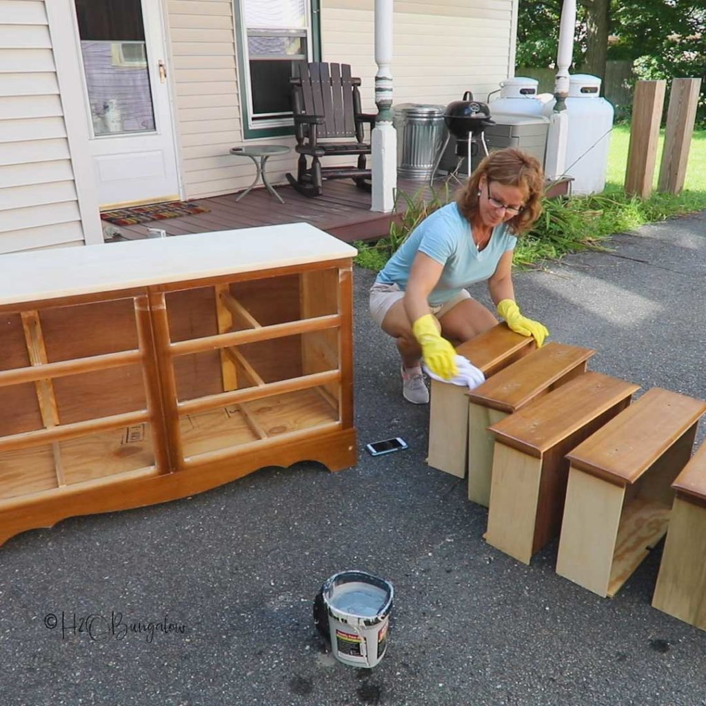 Deglossing furniture before painting. Video covering how to prepare furniture for painting, furniture painting tips, what you need to do a furniture makeover #furnituremakeover #paintingtips #videotutorial