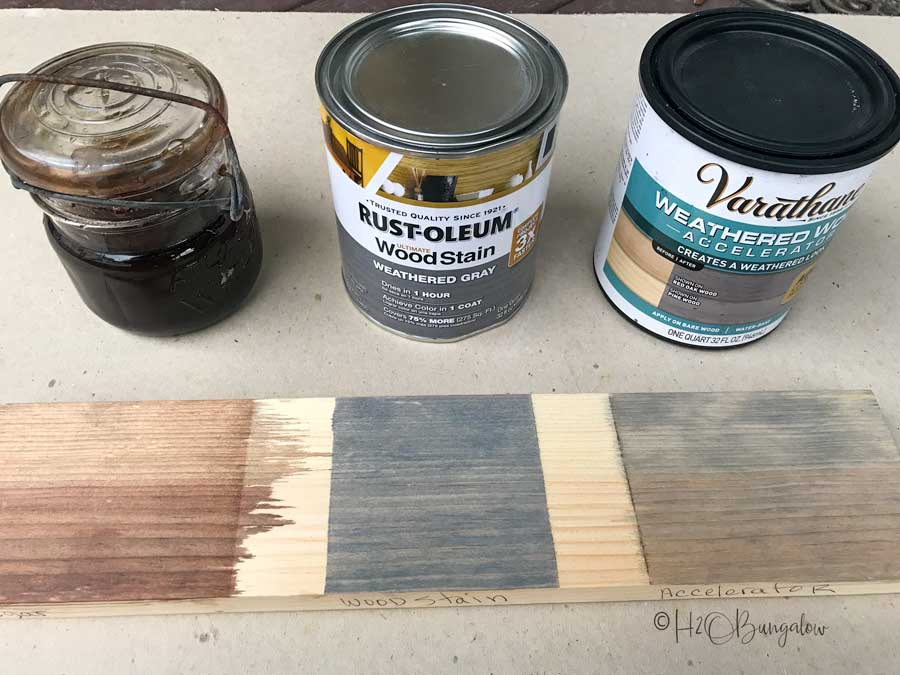 three stains used on pallet wood wall