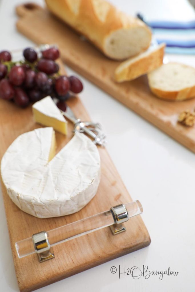 DIY cutting board and cheese board with cheese and bread