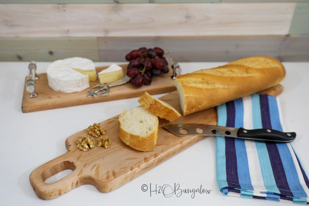 Cheeses and bread on a easy handmade cutting boards. make this with 2 hand tools!