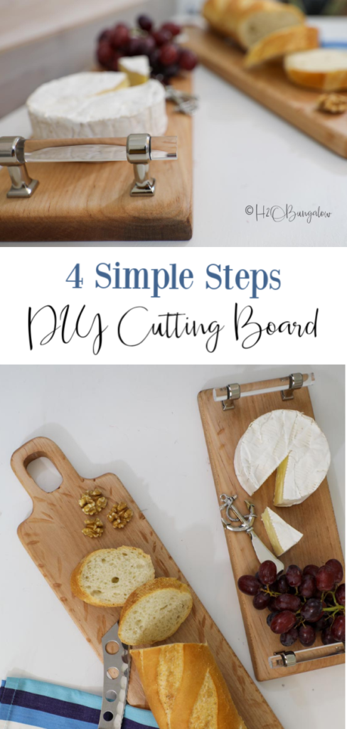The easiest DIY cutting board to make from scrap wood with only 2-3 tools for a trendy serving board for cheese or bread from a plank of wood in a few hours