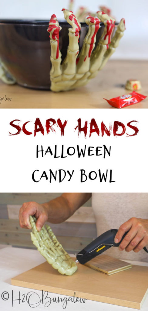 Greet your trick or treaters with a spooky DIY Halloween candy bowl or serve up a scary serving dish filled with chips or food at your next party!
