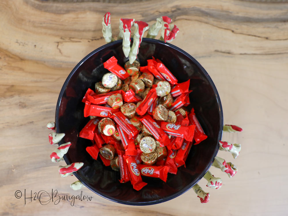 finished scary halloween candy bowl with candy