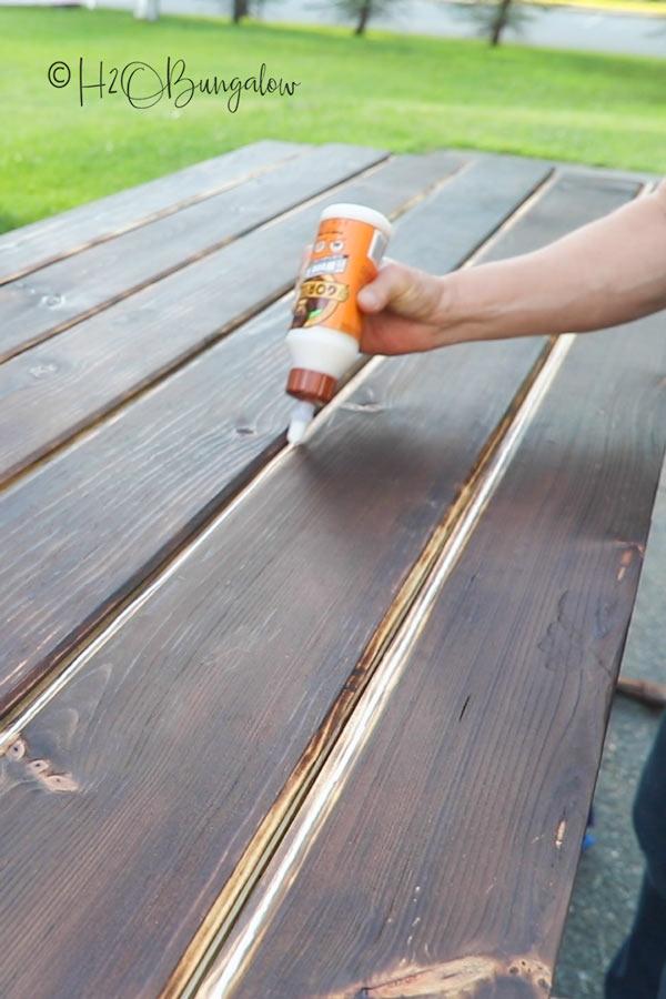 glueing slats on DIY barn door