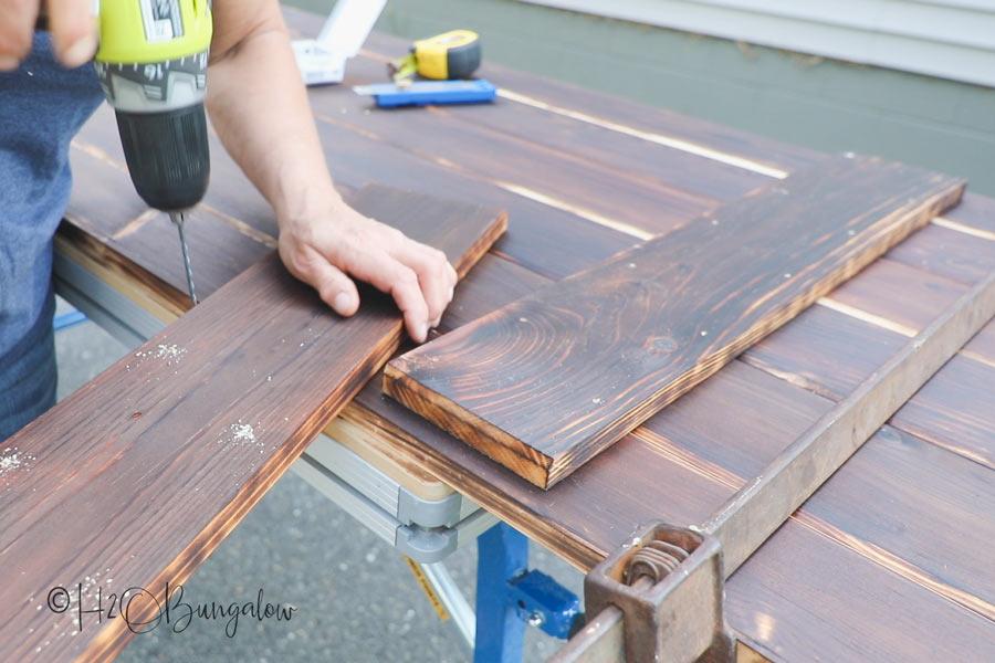drill pilot holes when building a barn door