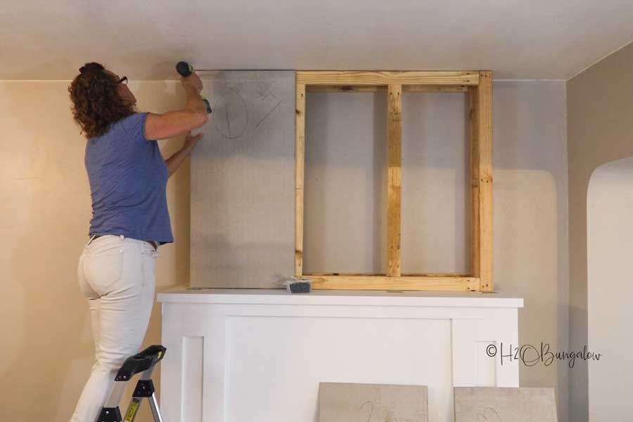 add Hardie Backer to chimney frame