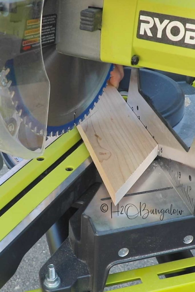 Cutting chevron wood pieces