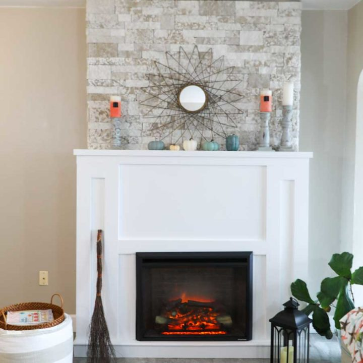 Diy Fireplace With Electric Insert, Small Faux Stone Electric Fireplace