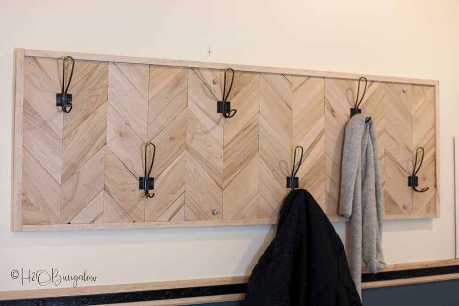 mudroom chevron maple wood coatrack