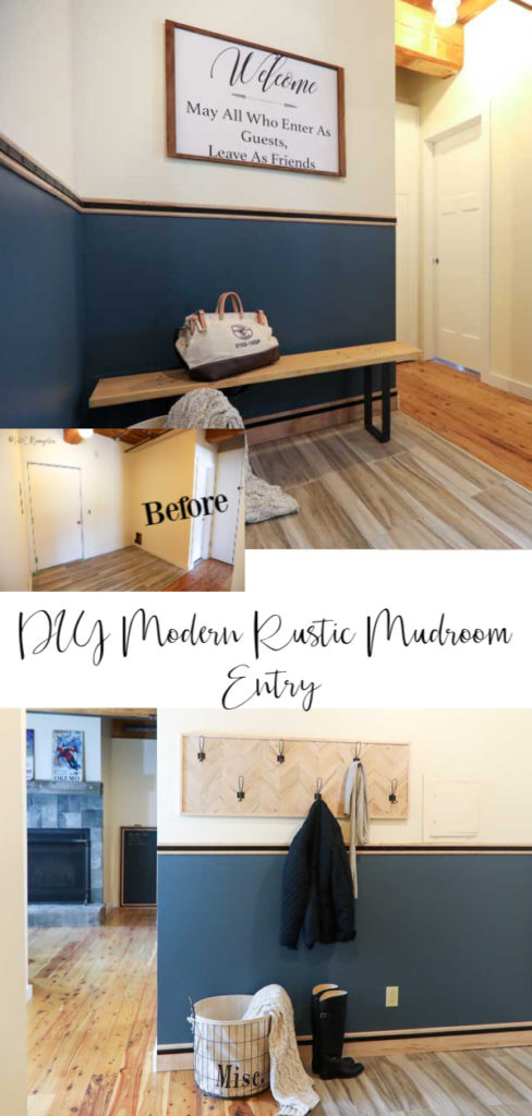 DIY modern rustic mudroom entry