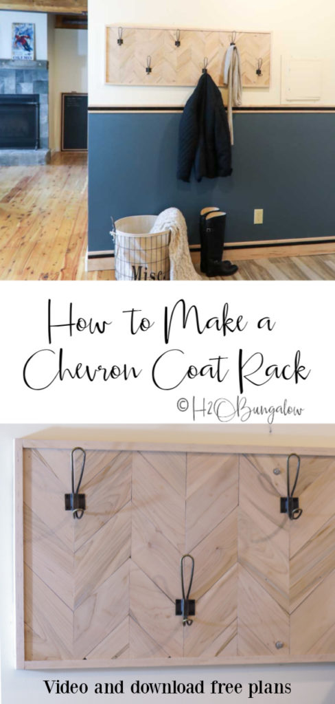 Download free woodworking plans to make this chevron DIY coat rack. Update an entryway or mudroom with this modern DIY wall mounted coatrack that's sturdy and beautiful. #coatrack #woodworking #mudroom