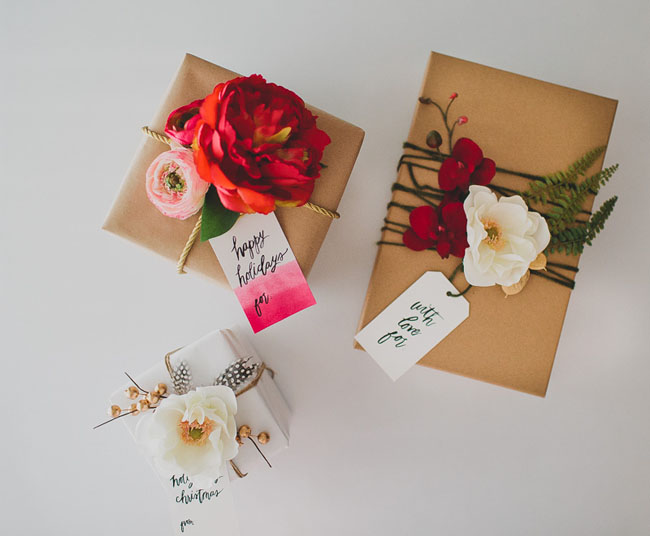 faux flowers on craft paper