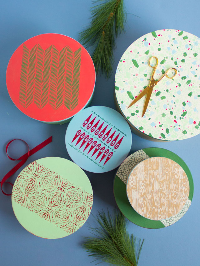 stamped round boxes for cookies and small gifts