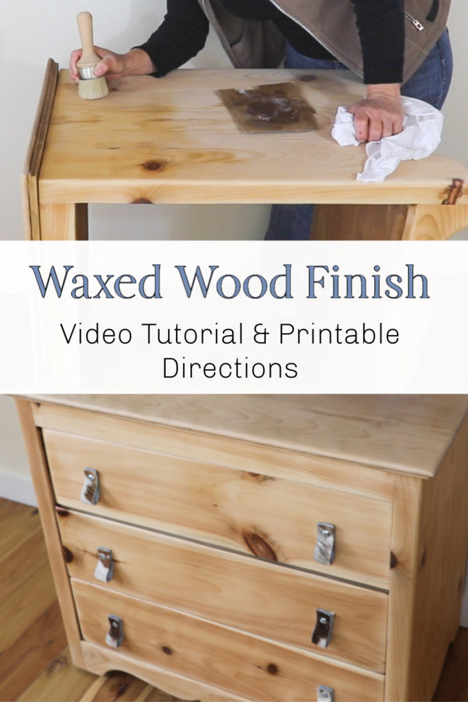 How to do a wood wax finish on raw wood or sanded wood furniture. Make a trendy DIY natural wood finish with these steps for easy update to old furniture.