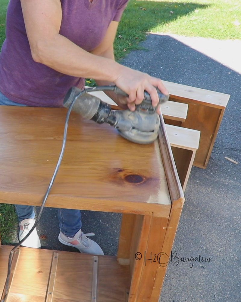 sanding old pumpkin pine furniture for wax wood finish