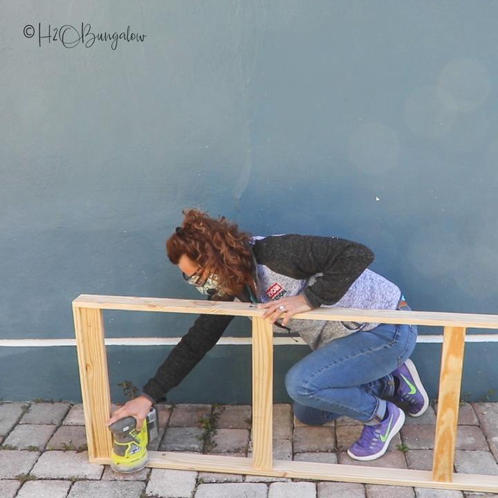 sanding wood frame