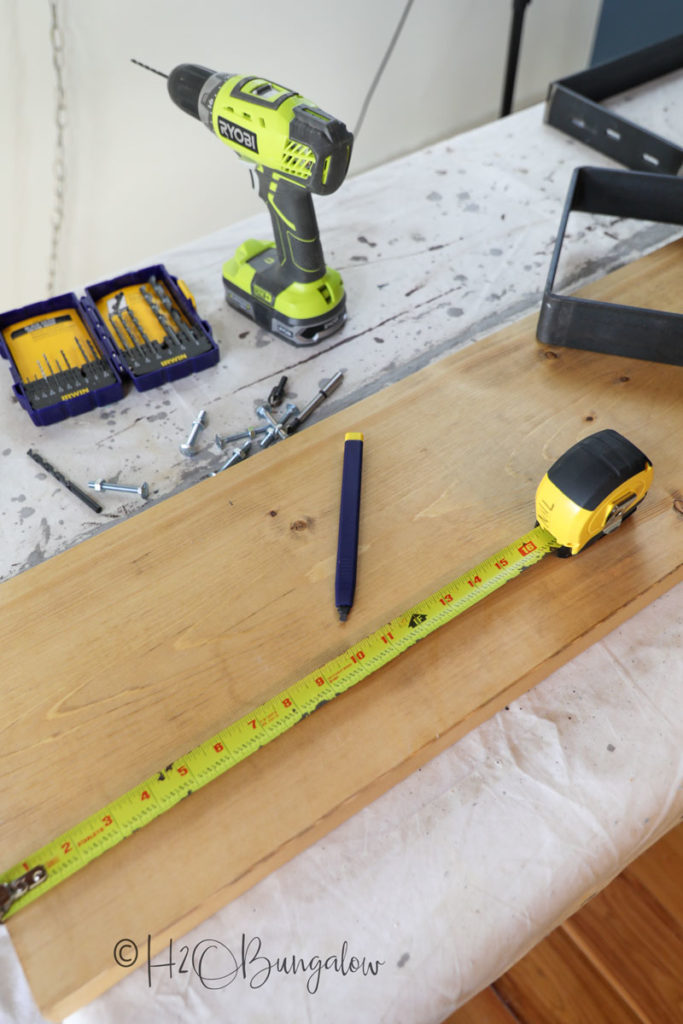 supplies to make a DIY mudroom bench